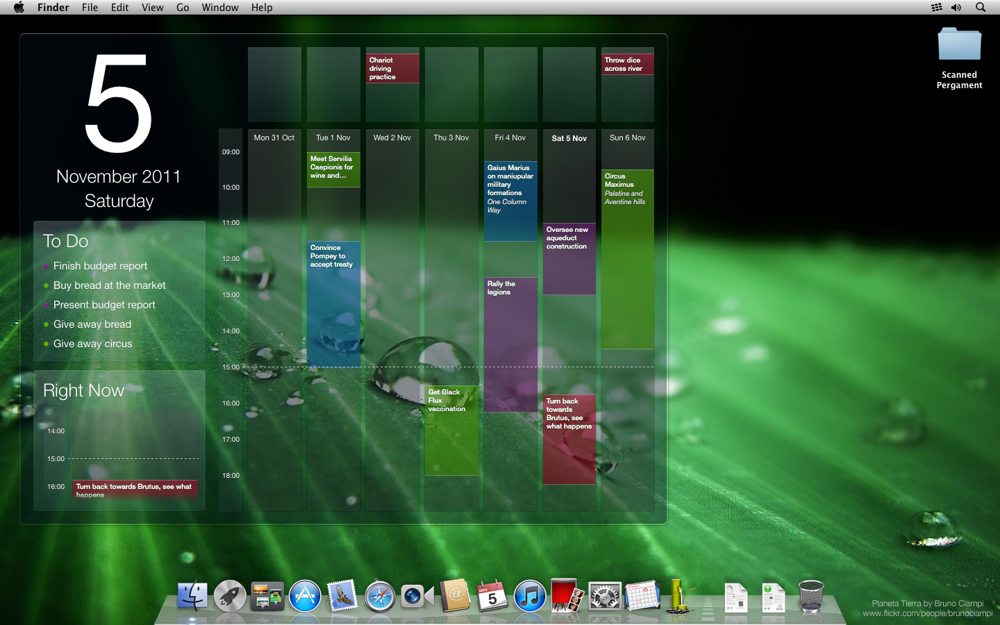 Blotter calendar on green macOS X wallpaper.